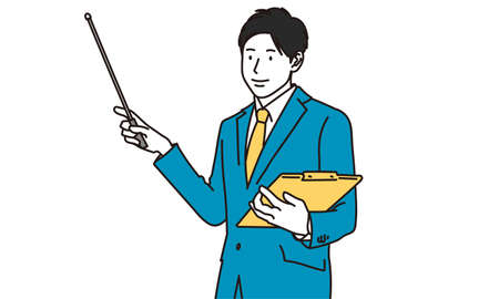 a businessman who explains with an instruction stick