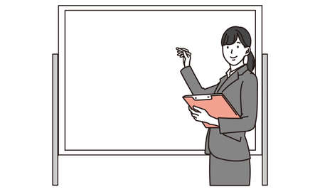 Businesswoman explaining on whiteboard