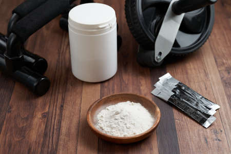 Training powdered supplements and muscle training tools