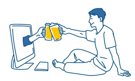 Online Drinking Party Illustrations