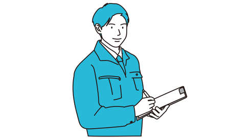 Workers checking equipment Illustration