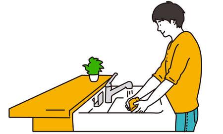 Man washing a cup