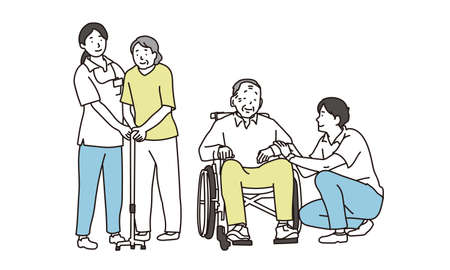 Elderly and caregivers with wheelchairs and canes