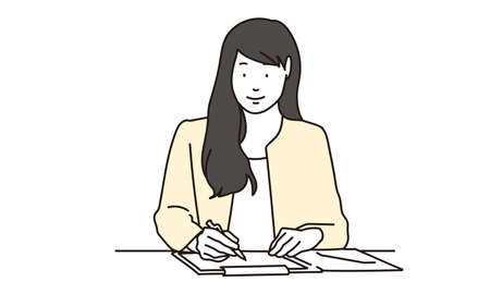 Female tax accountant conducting a hearing Illustration
