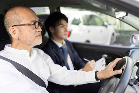 Elderly people taking training in driving a car