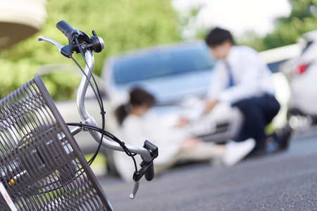 Bicycle and car traffic accident Standard-Bild