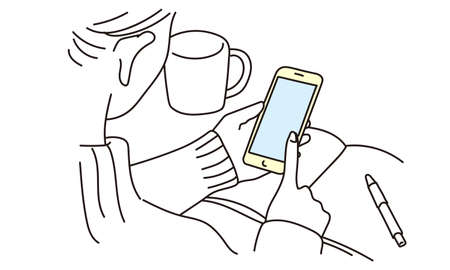 Hands of a woman operating a smartphone