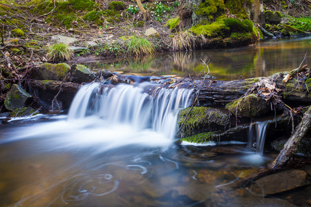 Small waterfall on creek flowing over the rocks and wood