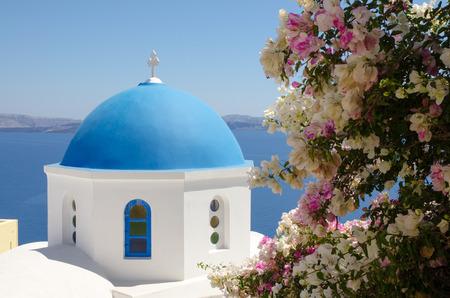 Blue cupola of the church in Santorini
