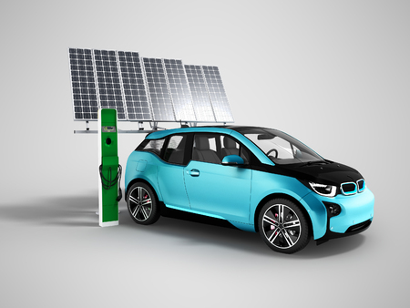 Modern concept of charging an electric car solar battery 3d rendering on a gray background with a shadow
