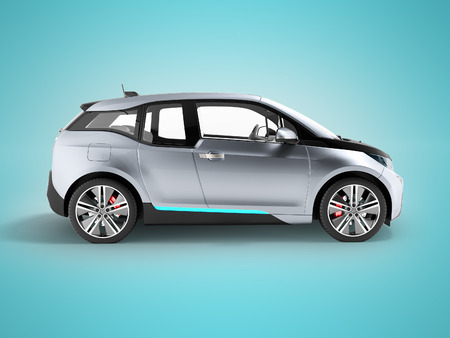 Electric car side view blue black 3d render on blue background with shadow