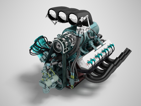 Car turbo engine black blue front perspective 3d render on gray background with shadow
