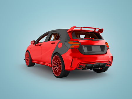 Modern sport car red behind 3d rendering not blue background with shadow Stock Photo