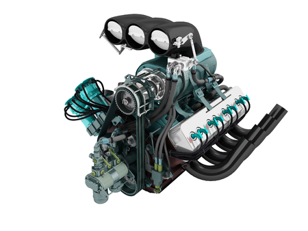 Car turbo engine black blue front perspective 3d render on white background no shadow Banque d'images