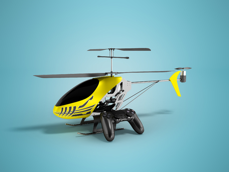 Concept modern helicopter on control panel yellow 3d render on blue background with shadow Stock Photo