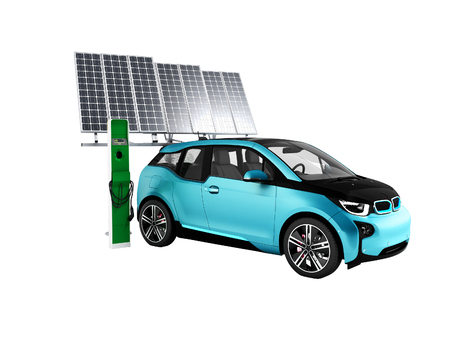 Modern concept of charging an electric car solar battery 3d rendering on a white background no shadow