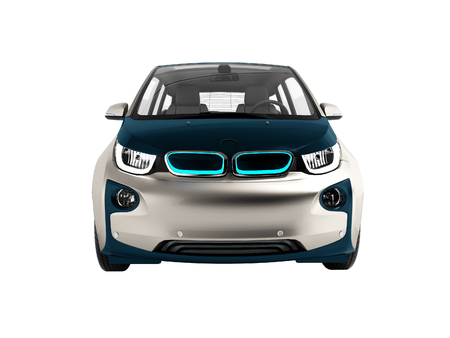 Modern electric car dark blue gray front 3d rendering on white background no shadow