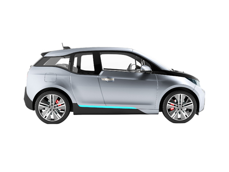 Electric car side view blue black 3d render on white background no shadow