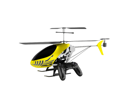 Concept modern helicopter on control panel yellow 3d render on white background no shadow
