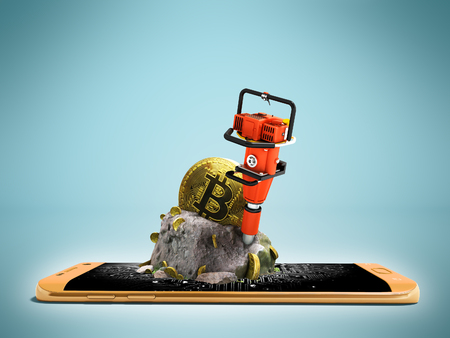 Modern concept of mining bitcoin with a bump from the orange phone in front 3d render on a blue background with a shadow