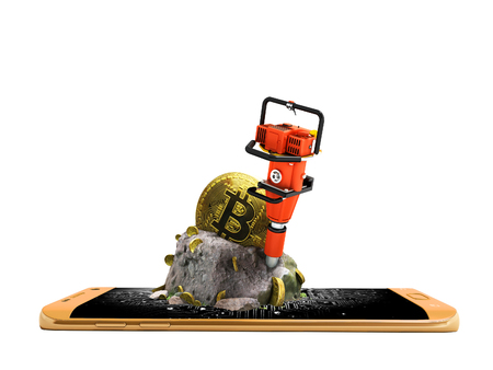 Modern concept of mining bitcoin with a bump from the orange phone in front 3d render on a white background no shadow
