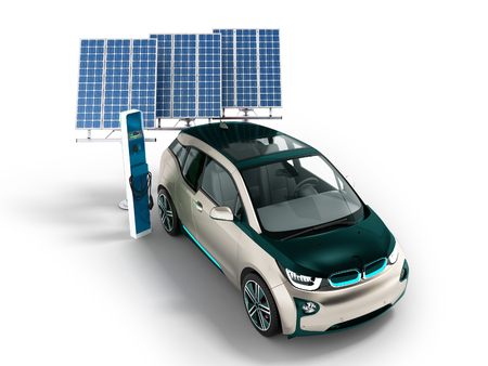 Modern refueling over a network of electric car blue solar panels for refueling 3D render on a white background with a shadow Foto de archivo