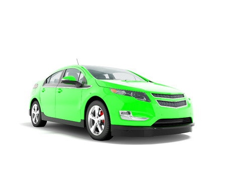 Modern electric car green front bottom 3d rendering on white background with shadow Stock Photo