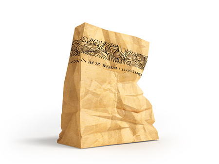 Great paper shopping bag for supermarket 3d render on white background with shadow