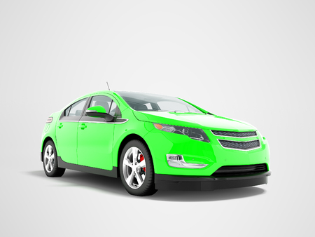 Modern electric car green front bottom 3d rendering on gray background with shadow