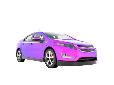 Modern electric car mix purple front from below 3d render perspective on white background no shadow