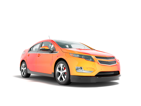 Modern electric car mix red orange front bottom perspective 3d rendering on white background with shadow