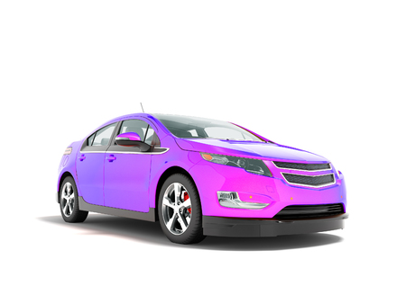 Modern electric car mix purple front from below 3d render perspective on white background with shadow Stock Photo