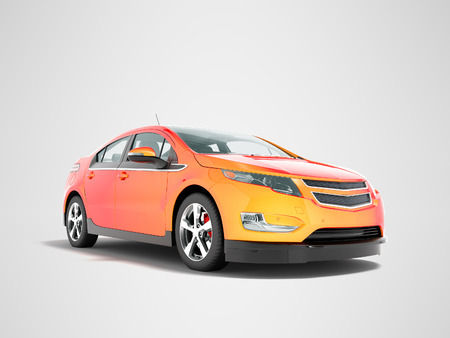 Modern electric car mix red orange front bottom perspective 3d rendering on gray background with shadow Stock Photo