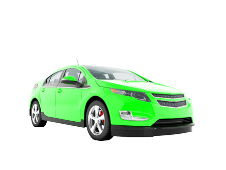 Modern electric car green front bottom 3d rendering on white background no shadow Stock Photo