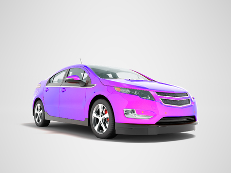 Modern electric car mix purple front from below 3d render perspective on gray background with shadow Stock Photo