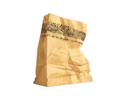 Great paper shopping bag for supermarket 3d render on white background no shadow