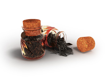 Glass jars with dry black tea for storage in front 3d render on white background with shadow