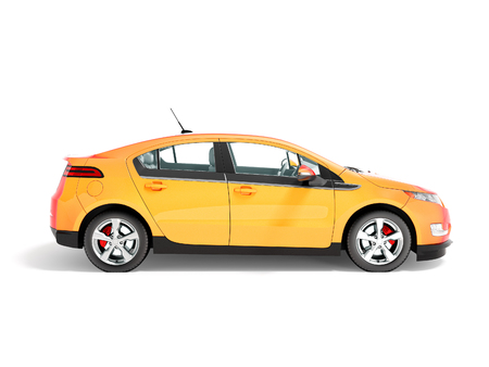 Modern electric car on the left orange 3d rendering on white background with shadow