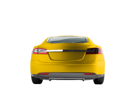 Modern electric car behind the yellow 3d render on a white background no shadow Stock Photo