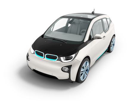 Modern electric car for city front 3d render on white background with shadow