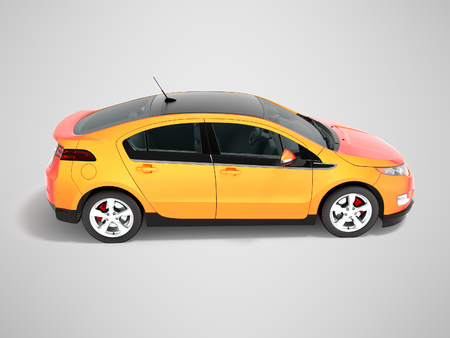 Modern electric car orange red for city side perspective 3d render on gray background with shadow Stock Photo