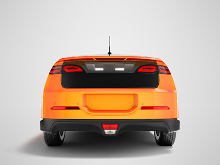 Modern electric car orange red for city from behind bottom 3d render on gray background with shadow