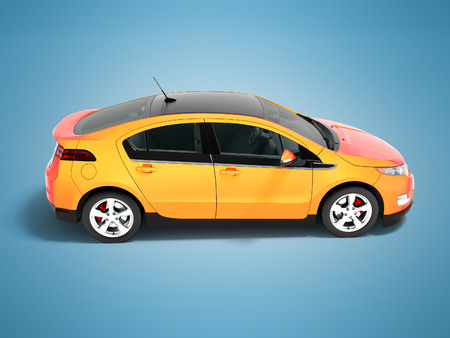 Modern electric car orange red for city side perspective 3d render on blue background with shadow