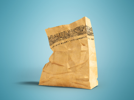 Large paper bag for a supermarket at the bottom left 3d render on a blue background with a shadow