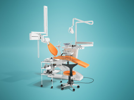 Dental equipment for dentist orange left perspective with chair and bedside table with tools 3d render on blue background with shadow