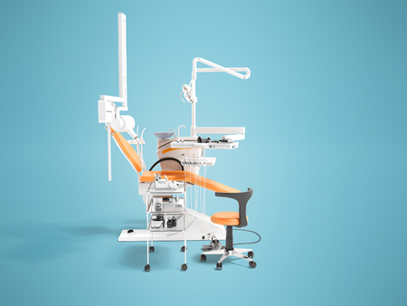Dental equipment for dentist orange with armchair and bedside table with tools 3d render on blue background with shadow