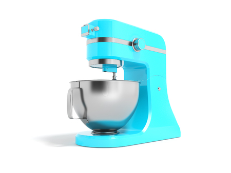 Modern electric food processor electric blue with metal bowl 3D rendering on white background with shadow