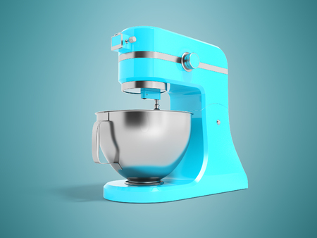 Modern electric food processor electric blue with metal bowl 3D rendering on blue background with shadow