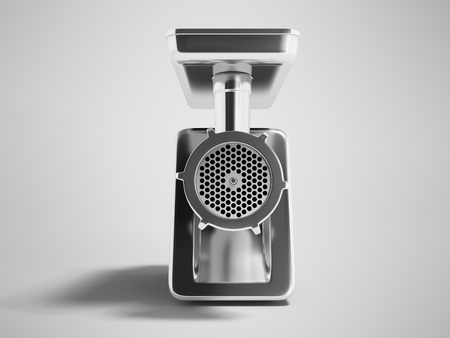 Modern metal electric grinder with black casing in front 3d render on gray background with shadow