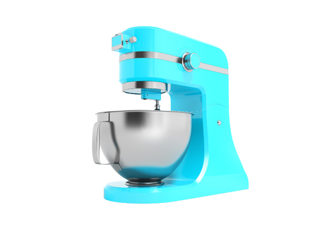 Modern electric food processor electric blue with metal bowl 3D rendering on white background no shadow